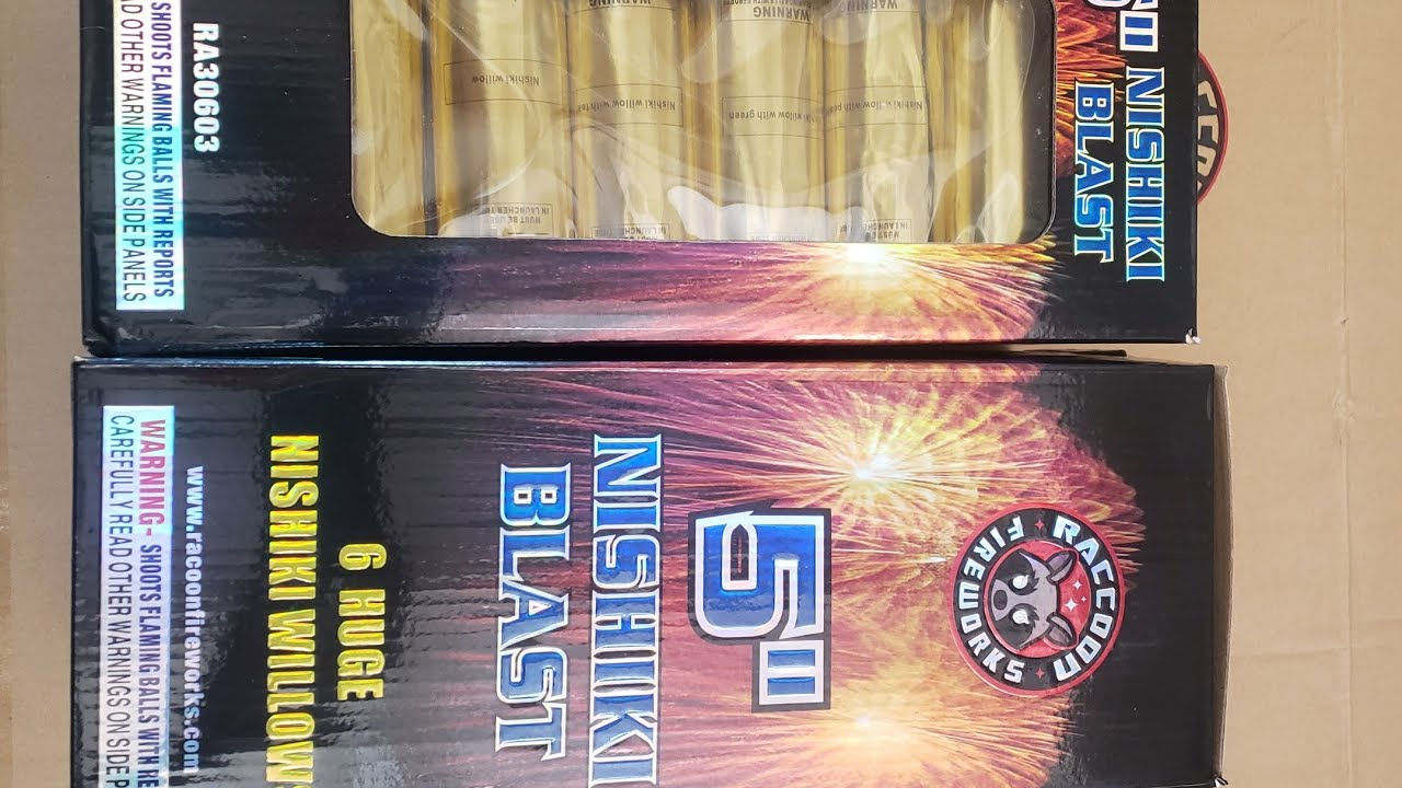 5 inch Nishiki Blast 60g canister shells by Racoon Fireworks Unboxing & Demo 2020