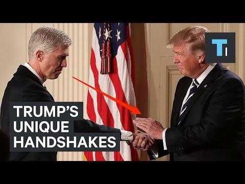 A body language expert analyzes Trump's unique handshakes