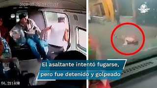 Las cámaras internas de una combi, captaron el momento en que dos sujetos intentaron abordar el vehículo para despojar de sus pertenencias a por lo menos 6 pasajeros que viajaban en la unidad