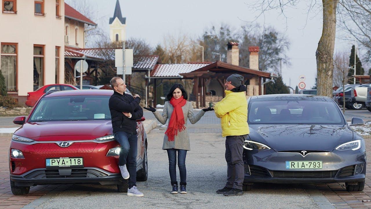 Hyundai Kona - Tesla Model S hatótáv verseny