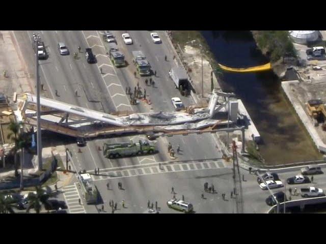 Así quedó el puente peatonal de Miami tras su trágico derrumbamiento