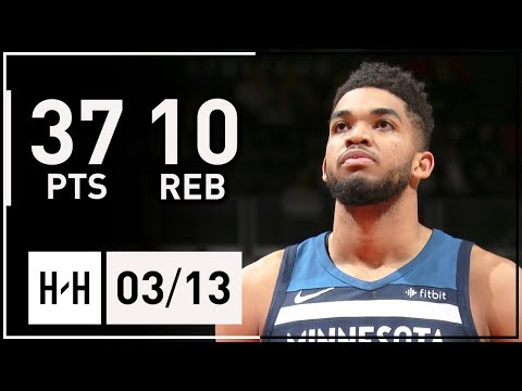 Karl-Anthony Towns Full Highlights Wolves vs Wizards (2018.03.13) - 37 Pts, 10 Reb, 2 Blk, CLUTCH!