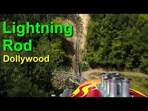Lightning Rod Wooden Roller Coaster Front Seat On Ride HD POV Dollywood Pigeon Forge Tennessee
