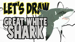 Drawing Great White Shark from Wild Kratts! (Basic shapes and lines)