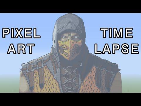 Minecraft Pixel Art Timelapse - Scorpion (Mortal Kombat X)