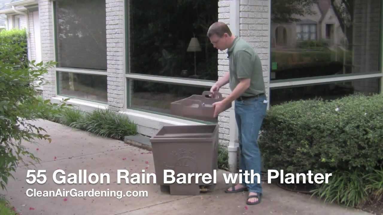 55 Gallon Rain Barrel With Planter Rain Barrels Youtube