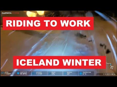 Icelandic winter storm - Riding to work