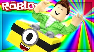 SLIDE DOWN A RAINBOW IN A BOX! (Roblox Rainbow Slide)