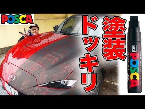 【ドッキリ】MEGWINのオープンカーをポスカで真っ黒に染めたら大事故にwwwww