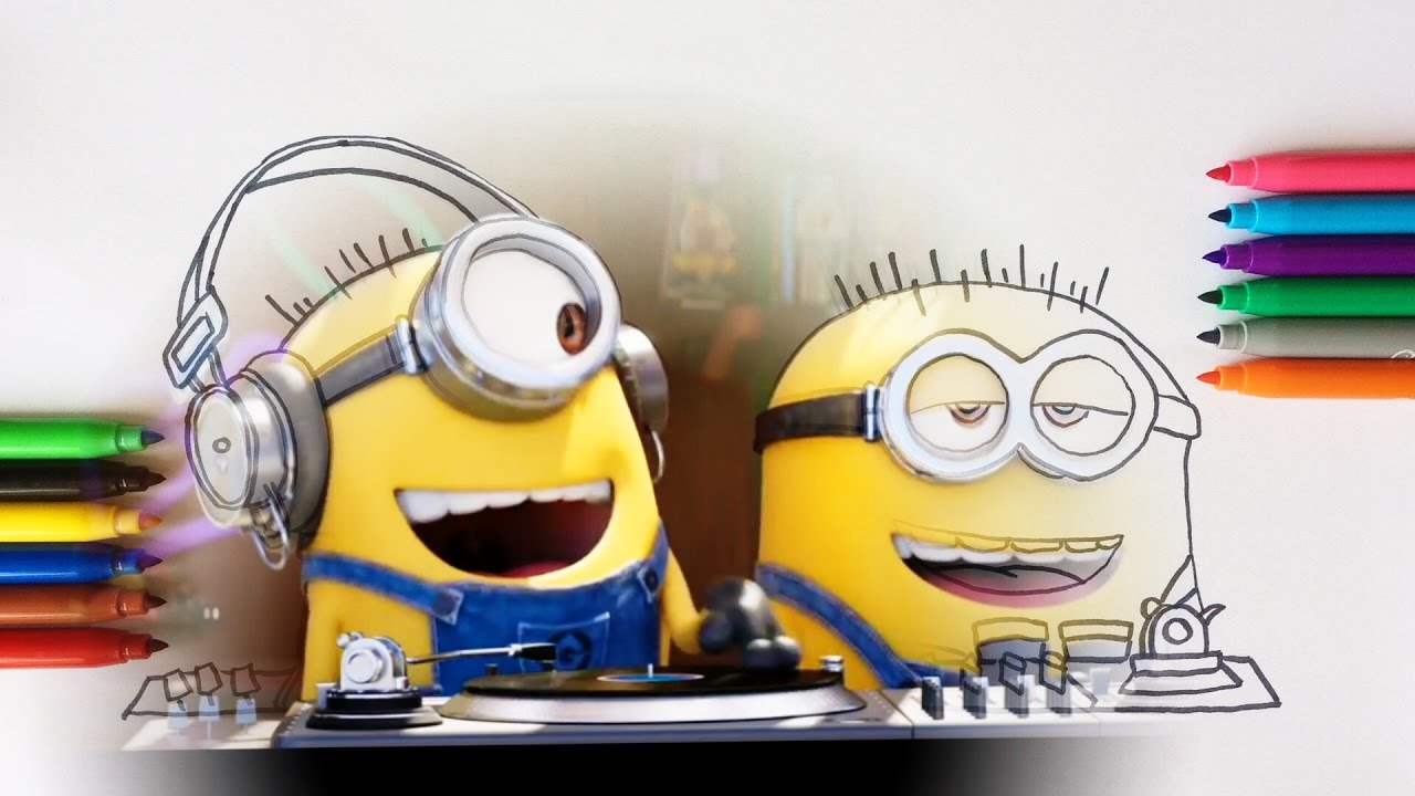 despicable me 3 minions dj coloring pages for children with