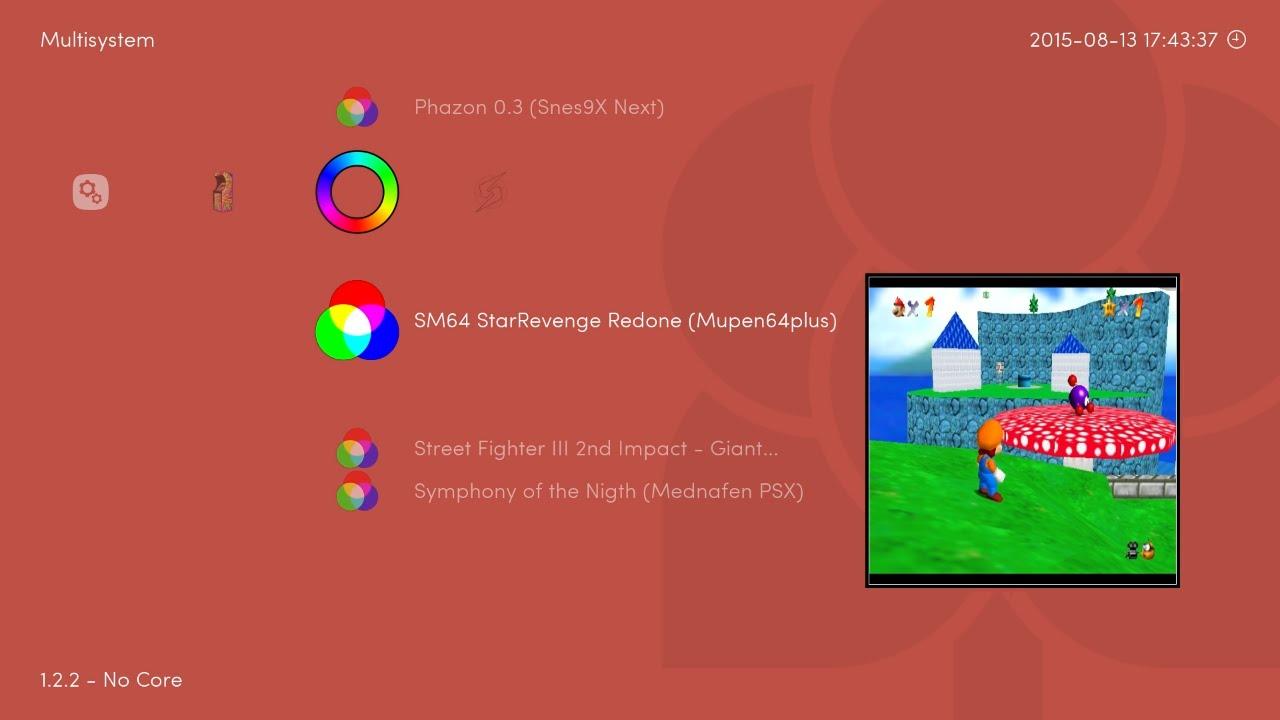 RetroArch v1 2 2 - Multisystem playlist manually added