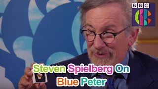 Steven Spielberg gets his gold Blue Peter badge!