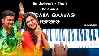 En Jeevan - Theri Song Piano Cover With NOTES | AJ Shangarjan