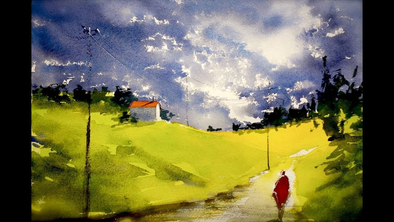 You Ll See A Very Simple Landscape To Do With Watercolor Technic