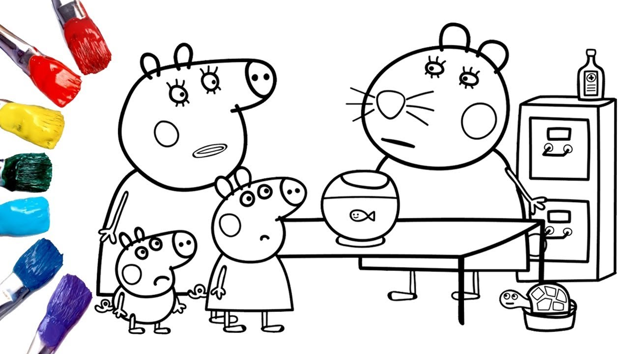Peppa Pig Goes To The Vet Peppa Pig Coloring Pages 1080p Youtube
