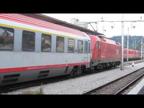 "Eurocity 212 ""Mimara""  Zagreb - Frankfurt hauled by ÖBB1216 at Ljubljana"
