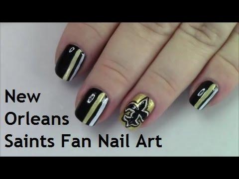 New Orleans Saints Fan Nail Art Tutorial Youtube