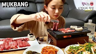 Real Eating Show :) meat juice & soju fifty-fifty😍 FLEX eating show :) (Hanwoo & NO1 Jinro🍾)