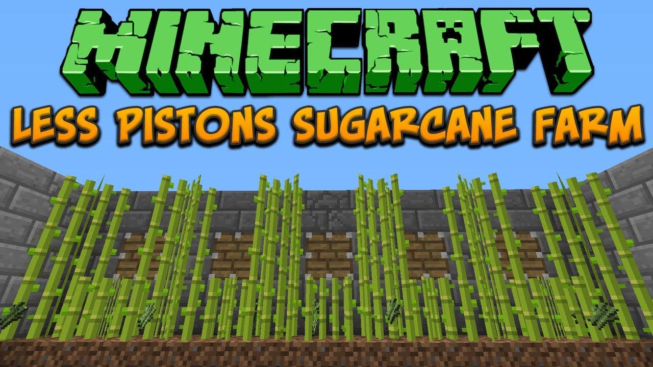 Minecraft: Less Pistons Sugarcane Farm Tutorial - YouTube