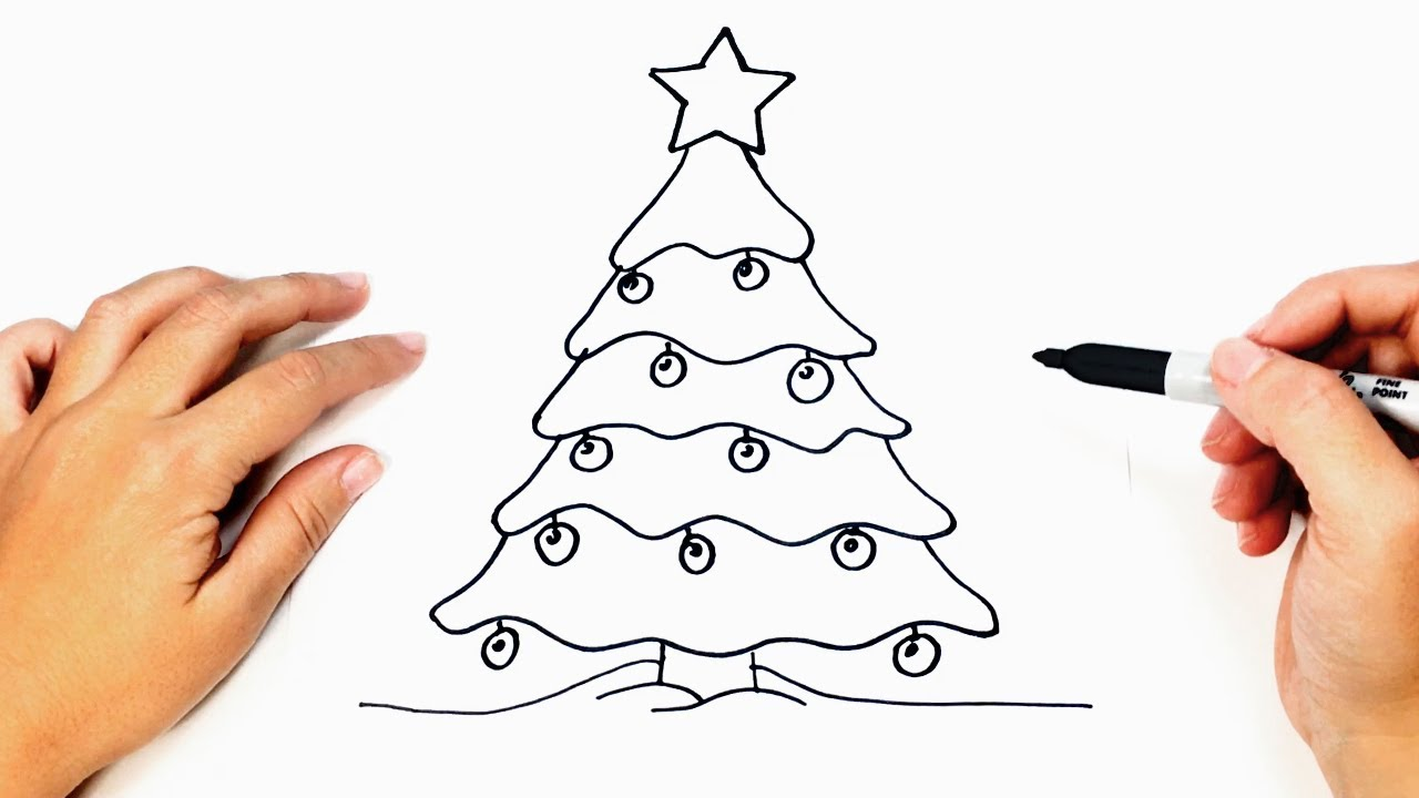 How to draw a Christmas Tree Step by Step | Easy drawings #1