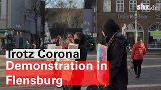 Etwa 20 menschen versammelten sich am mittwochnachmittag in flensburg um gegen die einschränkungen grundrechte, während der coronakrise, zu protestieren. #fl...