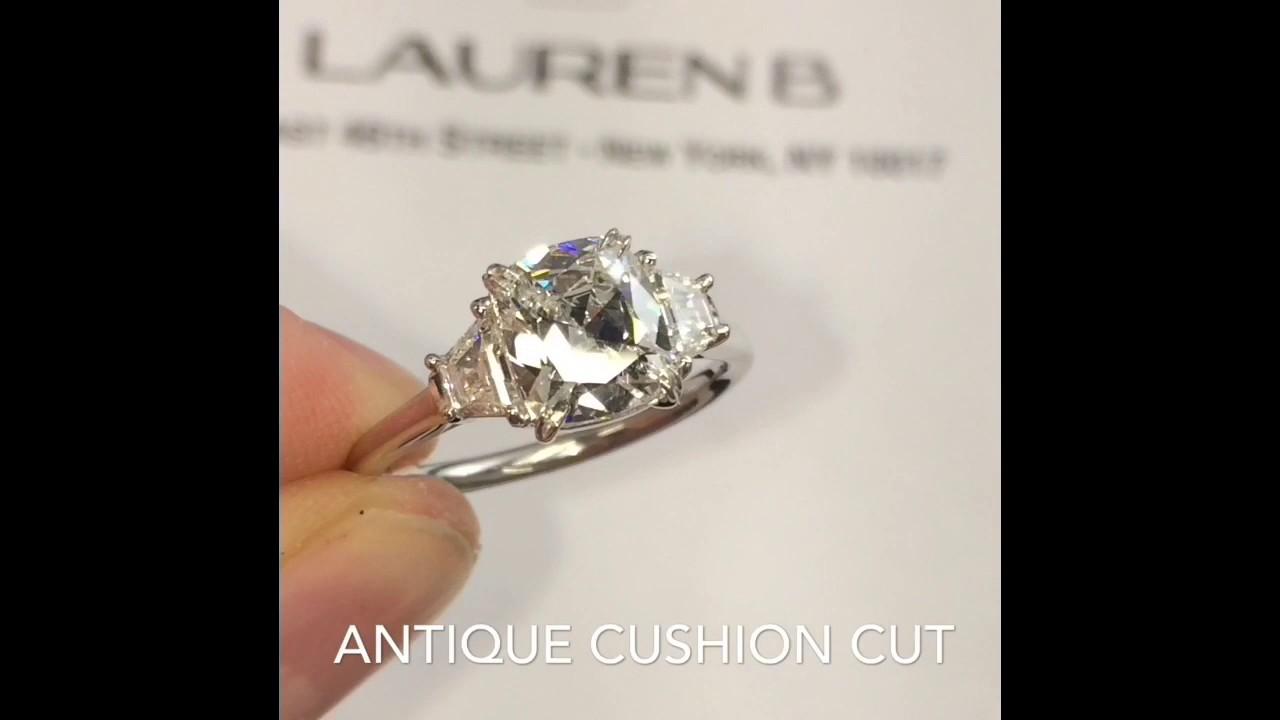 1 29 Ct Cushion Cut Diamond 3 Stone Engagement Ring