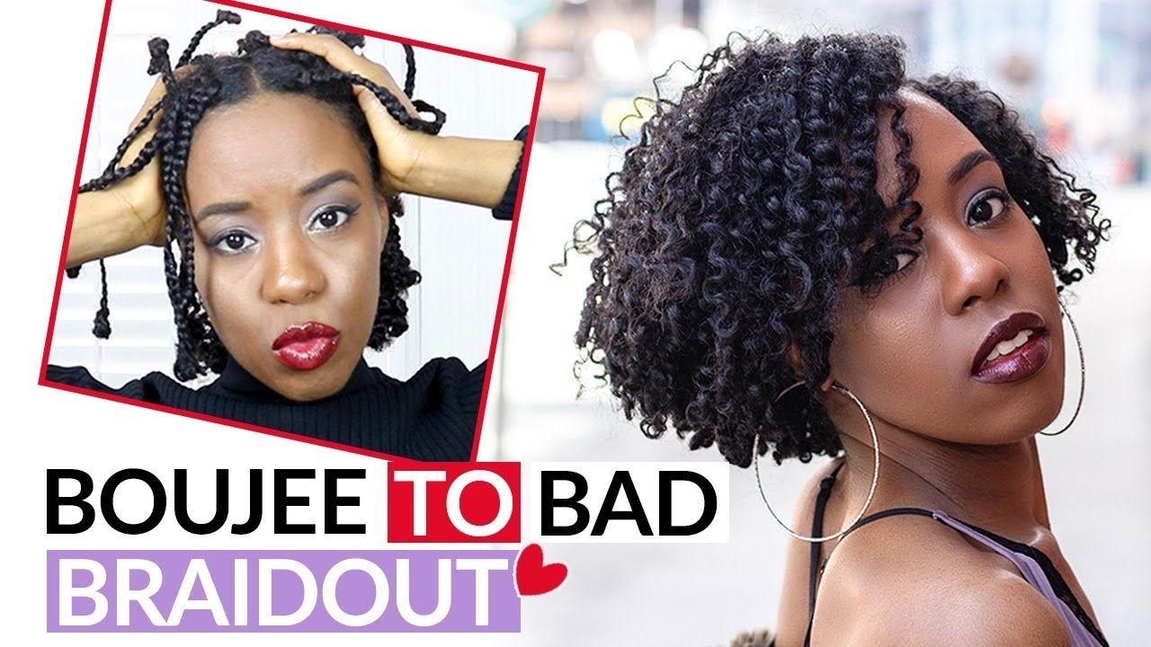 How To Braid Out On Awkward Length Natural Hair Feat Fro Butter Youtube