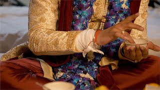 Groom offering prayers in a pooja ceremony during his wedding