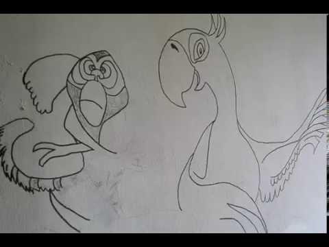 habitacion infantil dibujos en pared