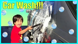 KID CAR WASH Construction Crane Truck and Fire Truck Videos for Children Ryan ToysReview