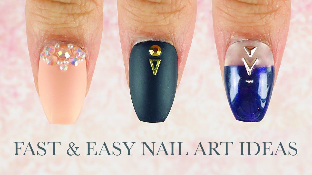 3 Fast and easy Festive nail art ideas - YouTube