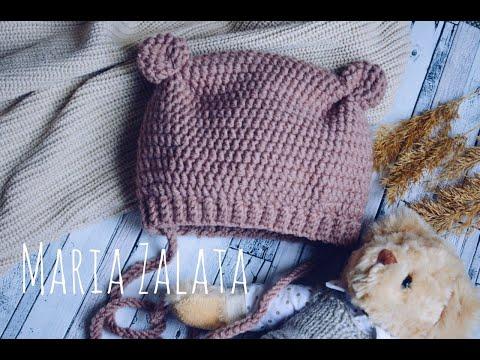 Зимняя шапочка для новорожденной девочки крючком