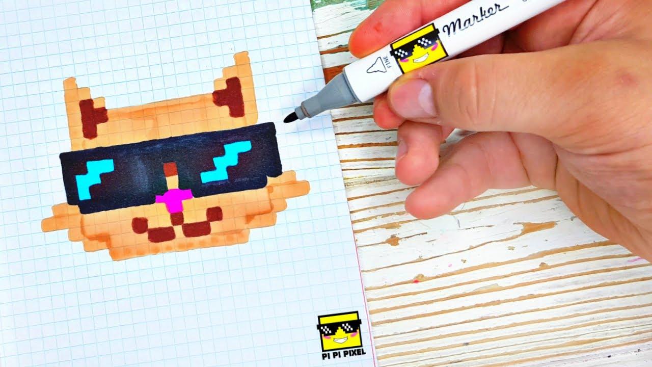 КОТ В ОЧКАХ - РИСУНКИ  ПО КЛЕТОЧКАМ  🛑 pixel art