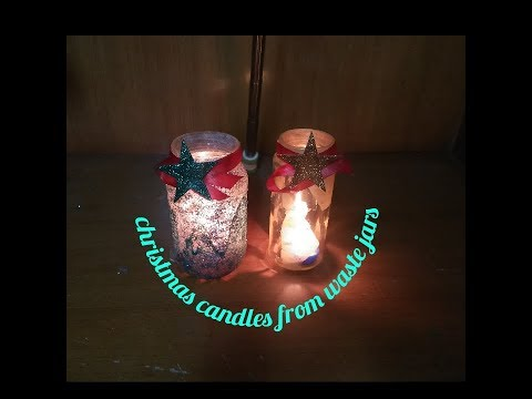 #DIY Christmas candle from waste jars#