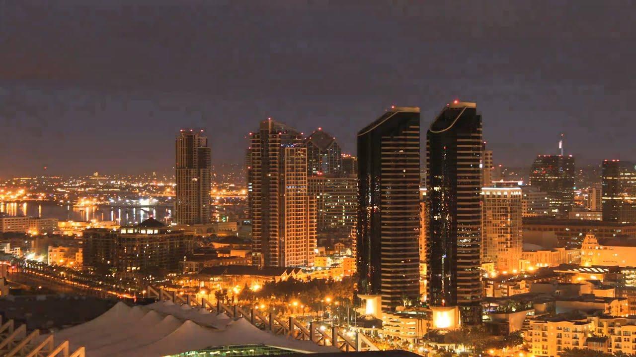 San Diego City Skyline Time Lapse Night To Day