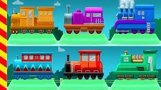 Мультик про поезд 15 мин. Гонки на поезде для детей. Цветные паровозы мультфильм. Мультик поезд.