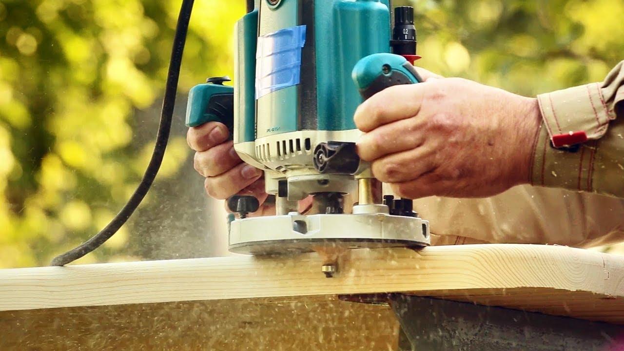 Фрезерование кромки стола ручным фрезером, milling garden table edge