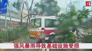强台风天鸽肆虐:香港街头一片狼藉