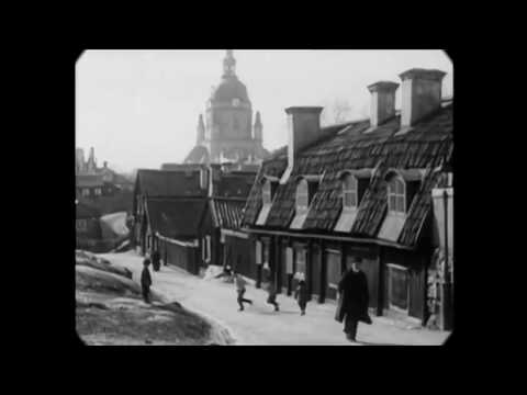 1913 - Street Scenes in Stockholm, Sweden (speed corrected w/ added sound)