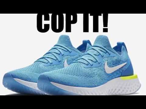 aa949d5fddb7 Nike Epic React Flyknit Blue Glow Photo Blue Volt Glow White - YouTube
