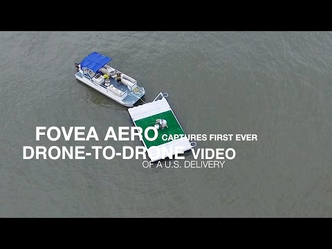 Aerial video of first U.S. ship-to-shore delivery by drone.