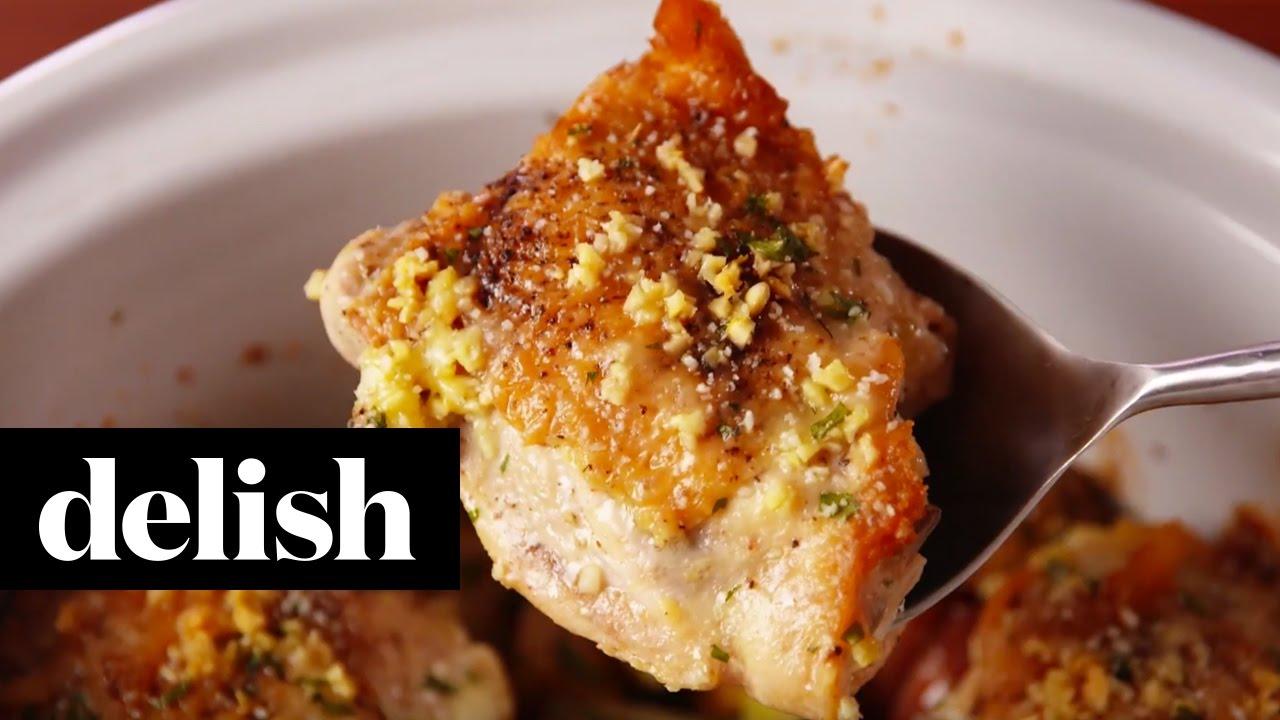 Slow Cooker Garlic Parm Chicken Delish Youtube