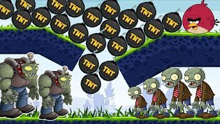 Angry Birds Fry Zombies - DROPPING MASSIVE TNT TO BURN ZOMBOSS FULL LEVELS!
