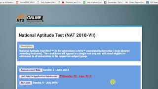 NAT Entry Test by NTS , How to apply Online , by GCU Channel