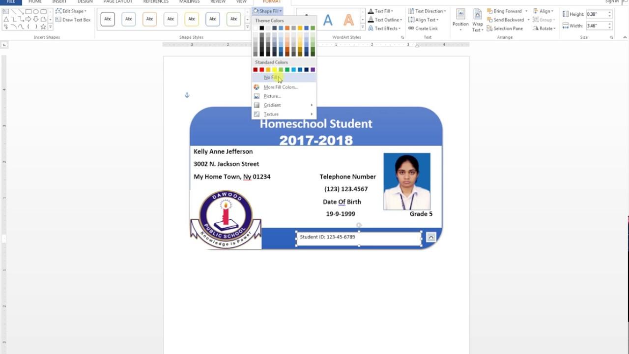 how to make id card design in ms word urdu tutorial [ 1280 x 720 Pixel ]