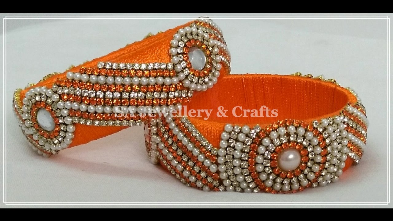 How to make Designer Silk Thread Bridal Bangles at Home | Tutorial ...