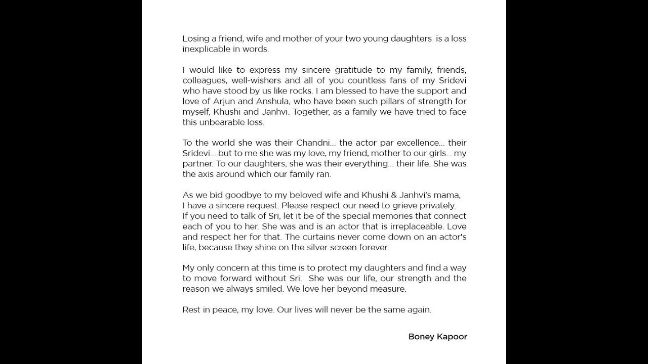 Boney Kapoor's heartfelt letter for wife Sridevi