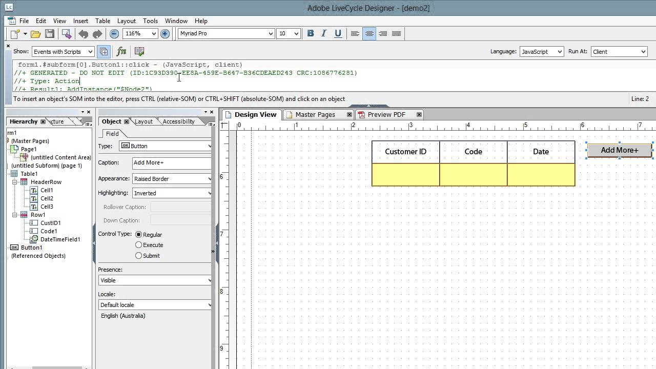 adding rows and showing optional or alternative fields in