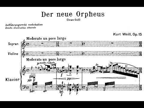 Kurt Weill - Der Neue Orpheus, Op. 16 (1925) Mp3