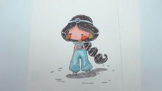 Speed Drawing - Disney Princess Jasmine - How to Draw DIY